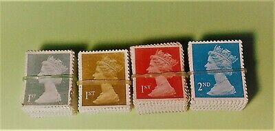 100 1St Class Unfranked Stamps Off Paper No Gum