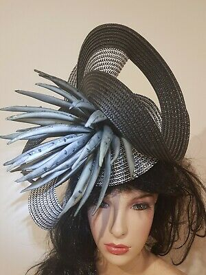 Fascinator hatinator hat races wedding costume formal black  - one off design