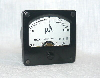 ANALOG PANEL MICRO AMPER METER DC 1000-0-1000 uA , USSR RARE , lot of 1 pcs