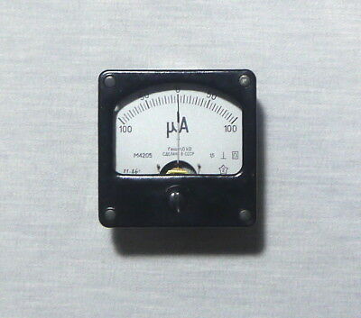 ANALOG PANEL MICRO AMPER METER DC 100-0-100 uA , USSR RARE , lot of 1 pcs