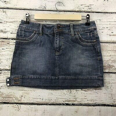 af404abc64 Armani Exchange Denim Jean Mini Skirt Side Buttons Distressed Size Womens 2