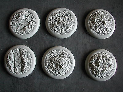 6 x SOCLES/BASES 40MM RESINE TEXTUREE/TEXTURED LUNAR/VOLCANO #BARFB200