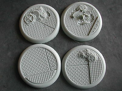 4 x SOCLES /BASES 50MM  RESINE (WARHAMMER/W40K... etc) SPACE STEAMPUNK #BARSP300