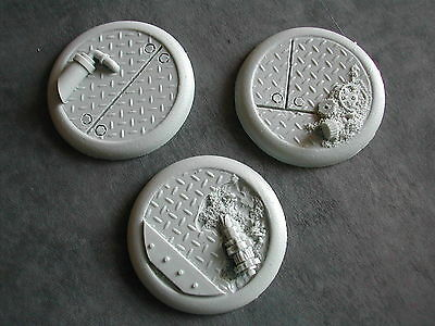 3x SOCLES /BASES 40MM  RESINE (WARHAMMER/W40K... etc) SPACE STEAMPUNK #BARSP250