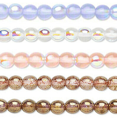 Vintage 100 grams BLUE STRIPED CLEAR PINK CENTER TRADE SEED BEAD 6//0 #052915a