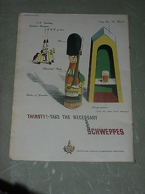 "Schweppes  1953  Vintage   14"" X 12""  (Approx)  Original   UK   Advert"