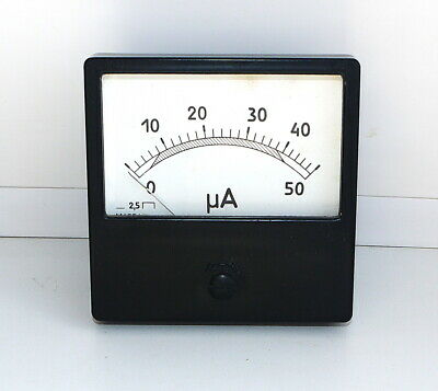 DC 0-50uA Analog Dial panel Gauge micro ammeter,  USSR, RARE! Lot of 1 pcs!