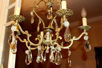 Vintage French Solid Bronze Crystal Vintage French 6 Arms Bird Cage Chandelier