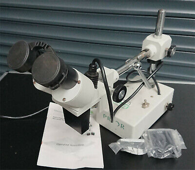 Prior Stereo 3D Microscope with Top Light X10 Occular X1 X3.5 x2 Objective