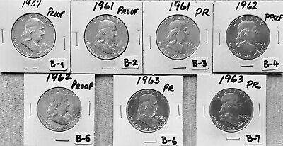 Franklin Half Dollars - 7 Coins -1957-1963 - PROOF (90% Silver) - Philadelphia-B