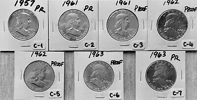 Franklin Half Dollars - 7 Coins -1957-1963 - PROOF (90% Silver) - Philadelphia-C