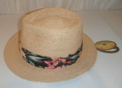 71684b85 SCALA Hat organic raffia straw big brim fedora hat LARGE / XL color NATURAL