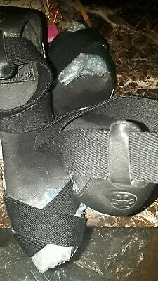 75c06b3aa1e3 TORY BURCH Black Canvas PEEP-TOE PLATFORM WEDGE SANDAL SIZE 9 Beaut EUC