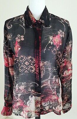 153fff1f71aa3 Chico s~Women s Size 2~Multi Color 100% Silk Blouse Button Down Shirt Top