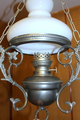 Antique Vintage French Pewter/Glass Lamp Ceiling Light Opaque White Glass Shade