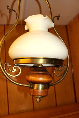 French Vintage Brass/Glass Ceiling Lamp Opaque White Glass Shade