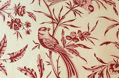Antique French Fabric Indienne Red Roses Floral Bird Toile