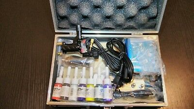 Complete Tattoo beginner Kit Black Death Strike Rotary Gun Machine 7 Inks Gift