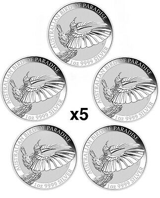 2018 Australian 1 oz silver bird of paradise BU coins **Lot of 5**