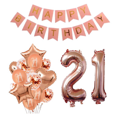 21ST BIRTHDAY PARTY Decorations Balloons Banner Rose Gold