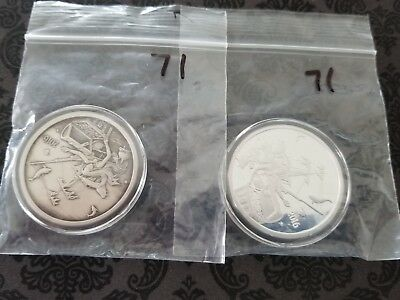 Silverbug Island Mermaid Proof And Antique Matching Set #0072 1 Oz Silver Rounds