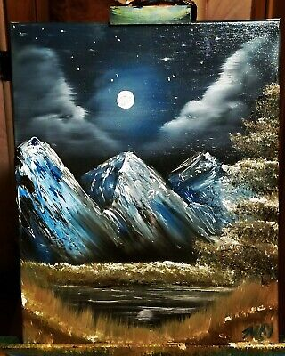 """Solace"" Bob Ross Mountains Trees Moon Inspired Painting by Mark May"