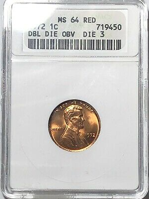 1972 Lincoln Cent Double Die Obverse, Die 3 Anacs MS 64 Red