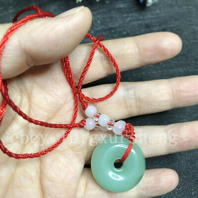 Chinese natural jade carved by hand round jade pendant Green+rope