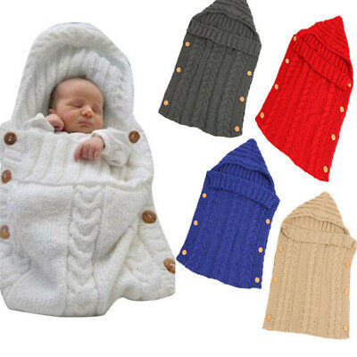 Baby Kids Knit Swaddle Sleeping Bag Infant Blanket Toddler Sack Stroller Wrap