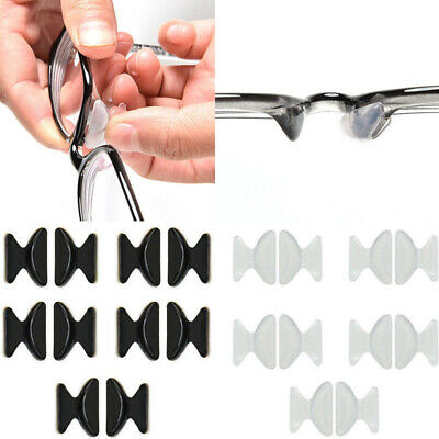Lots 5 Pairs Silicon Anti-Slip Stick On Nose Pads for Eyeglass Sunglass Glasses