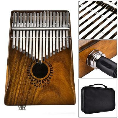 17 Key EQ Kalimba Solid Acacia Thumb Piano Link Speaker Electric Pickup With Bag