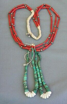 Vintage Native American 3 Strand Coral & Coin Silver Turquoise Joclas Necklace