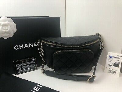 14149e081f1c NWT CHANEL BLACK CAVIAR BELT BAG BUSINESS AFFINITY WAIST Bum Fanny Pack  TRAVEL