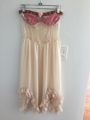 Vintage Free People Lace Sequin Ruffle Strapless Slip Dress Ivory Pink XS Rare