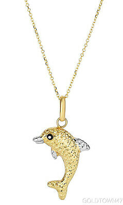 14kt Yellow+White Dolphin Pendant On Chain Reversible Back is Shinny