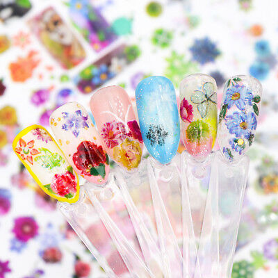 Holographic Flower Nail Art Foil Decal Manicure Floral Transfer Sticker Decor