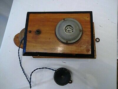 """Antique Telephone Wooden Old Fashioned Wall Hung Hanging Bells Mouthpiece Early"""""""