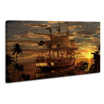 Artwork Pirates Ship Boat Oil Painting HD Printed on Canvas Home Art Wall Decor