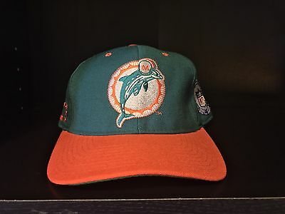 810b879d MIAMI DOLPHINS NFL Authentic Reebok Green Hat Cap Fitted Sewn 7 1/2 ...