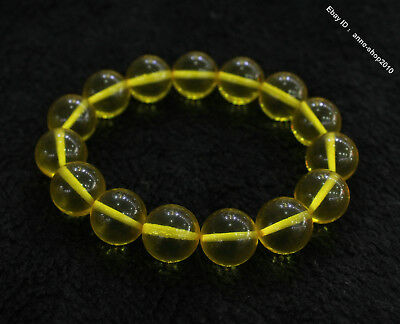 Collect Chinese Chicken oil yellow Beeswax Carved Buddha Bead bracelet bangle E