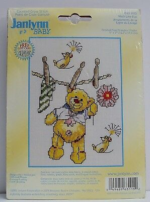 Janlynn Baby Shower Wash Line Fun Cross Stitch Craft Kit Clothes Pins Bear Mouse