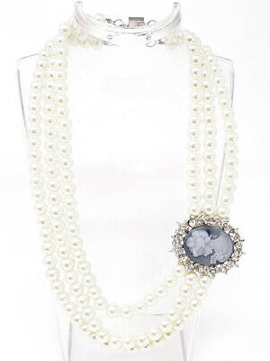Elegant Victorian Style Cameo Triple Strand Ivory Color Pearls Choker Necklace