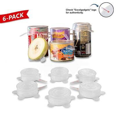 ExcelGadgets Silicone Stretch Lids Huggers Covers Reusable Various Sizes 6 Pack