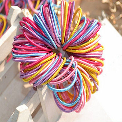 100x Kids Girls Elastic Scrunchies Rubber Hair Ties Ponytail Holder Band Rope IL