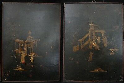 "Pair Chinese 18th c. Painted Lacquer Panels. Qing dynasty, 18 ¼"" x 13 ½"""