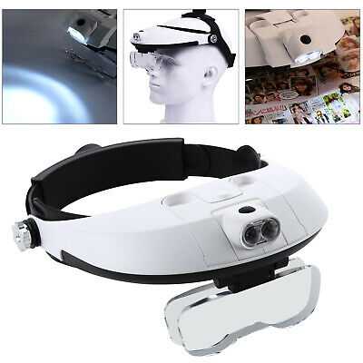 Practical Headband With 2 LED Light Jeweler Magnifier Magnifying Glass Loupe UK
