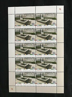 2010 Australian National Service Memorial 60c Sheetlet Of 10 Stamps MNH, Clean