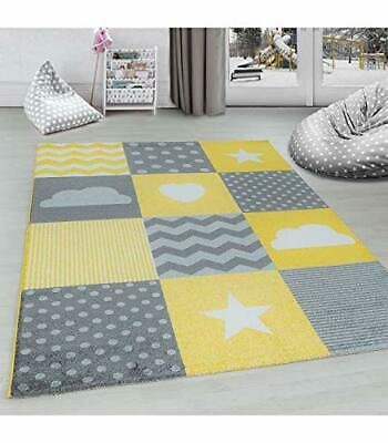 Grey Yellow Kids Rug Stars Childrens Room Carpets Checked