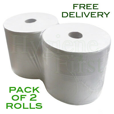2-Ply White Wiper Disposable 280mm Paper Rolls - Pack Of 2 Rolls (3600 Sheets)
