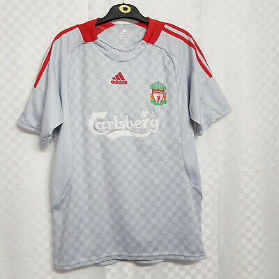 ADIDAS FC Liverpool Football Shirt Size Large Silver 2008-2009 Away Short Sleeve